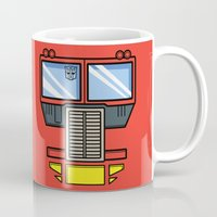 transformers Mugs featuring Transformers - Optimus Prime by CaptainLaserBeam