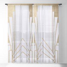 Art Deco design - blonde Sheer Curtain
