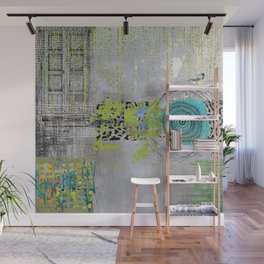 Teal & Lime Round Abstract Art Collage Wall Mural