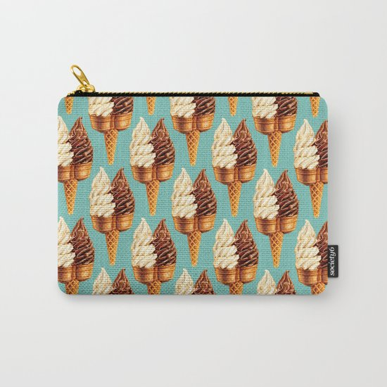 Ice Cream Pattern - Teal Carry-All Pouch