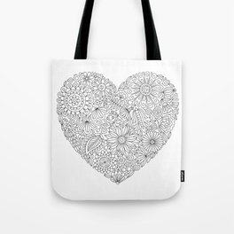 Flowers Heart Coloring Page, Flourish and Bloom Tote Bag
