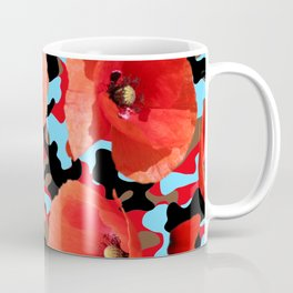 Poppie Camouflage Red Blue Coffee Mug