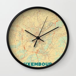Luxembourg Map Retro Wall Clock