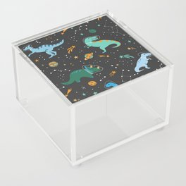 Dinosaurs in Space in Blue Acrylic Box
