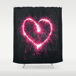 Firework Heart (Color) Shower Curtain