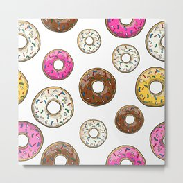 Funfetti Donuts - White Metal Print