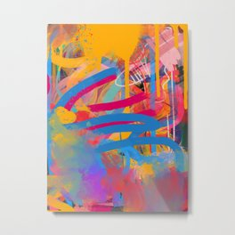 Street Art Abstract Art Pattern Color Drops and Strokes Metal Print