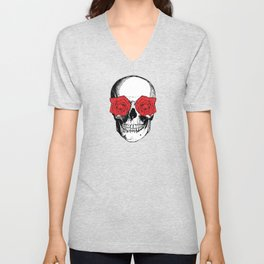 Skull and Roses | Skull and Flowers | Vintage Skull | Grey and Red | Unisex V-Neck