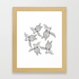 The turtles ink are swimming in white sea by Jana Sigüenza Framed Art Print