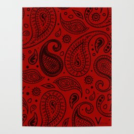 Paisley - Red Black Poster