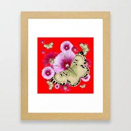 CHINESE RED BUTTERFLIES & PINK HOLLYHOCKS ART Framed Art Print