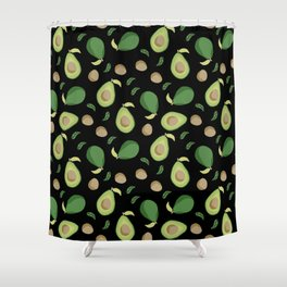 Avocado gen z fashion apparel food fight gifts black Shower Curtain