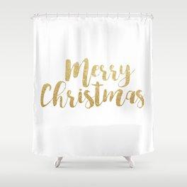Merry Christmas | Gold Glitter Script Shower Curtain