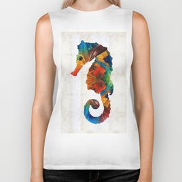 Colorful Seahorse Art by Sharon Cummings Biker Tank