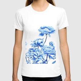 blue peonies 2 T-shirt