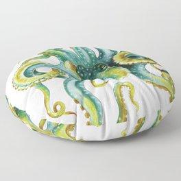 Octopus Tentacles Green Watercolor Art Floor Pillow