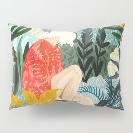 The Distracted Reader, Jungle Tropical Painting, Woman in Red Modern Bohemian Eclectic Pillow Sham