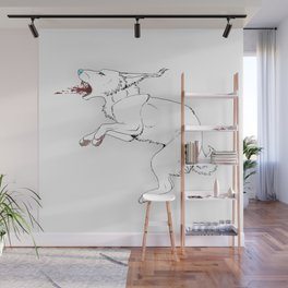 Wolfie does the jump Wall Mural