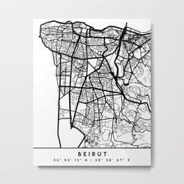BEIRUT LEBANON BLACK CITY STREET MAP ART Metal Print