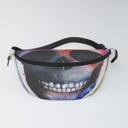 Rainbow Watercolor skull Fanny Pack