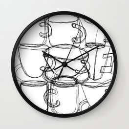 Coffee Beans and Mugs Wall Clock