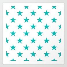 Stars (Tiffany Blue/White) Art Print