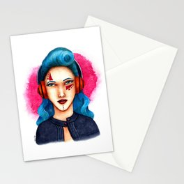 Janie - The Girl with Headphones Stationery Cards