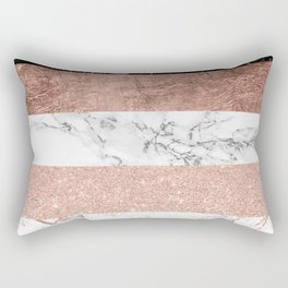 Modern chic color block rose gold marble stripes pattern Rectangular Pillow