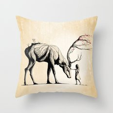 Knowing the Deer Tree Throw Pillow