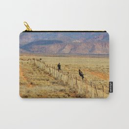 Wedgetail Eagles on a Fence, Outback Australia Carry-All Pouch