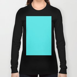 Solid Celeste Bright Aqua Blue Color Long Sleeve T-shirt