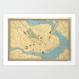 Vintage Map of Boston MA (1890) Art Print