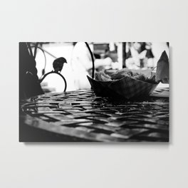 Cafe Beignet Silhouette Metal Print