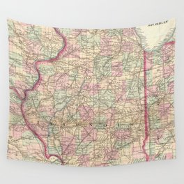 Vintage Map of Illinois (1874)  Wall Tapestry
