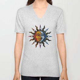 Celestial Mosaic Sun and Moon Unisex V-Neck
