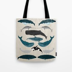 Whales - Pod of Whales Print by Andrea Lauren Tote Bag