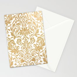 Gold foil swirls damask #12 Stationery Cards
