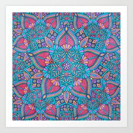 Pink and Turquoise Flower Mandala Art Print