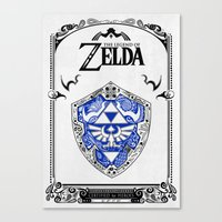 legend of zelda Canvas Prints featuring Zelda legend - Hylian shield by Art & Be
