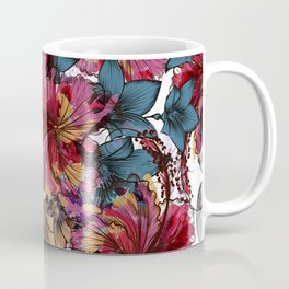 Tropical pattern with hibiscus flowers. Hawaii style watercolor Coffee Mug