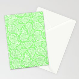 Paisley (White & Light Green Pattern) Stationery Cards