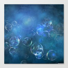 floating bubbles blue watercolor space background Canvas Print