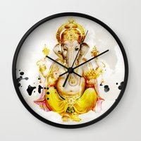 ganesha Wall Clocks featuring Ganesha by O. Be