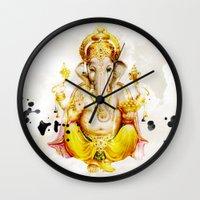 ganesha Wall Clocks featuring Ganesha by O. Be