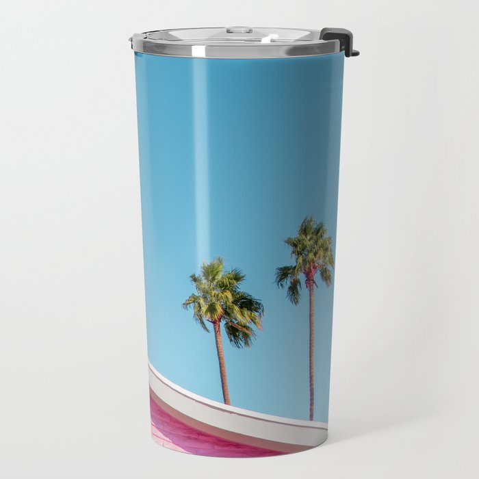 Pink House Roofline with Palm Trees (Palm Springs) Travel Mug