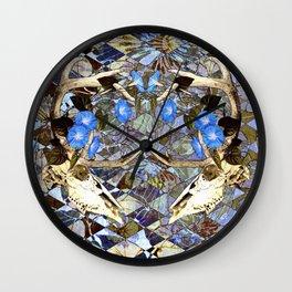 Diamond Pattern Deer Skull And Morning Glory Wall Clock