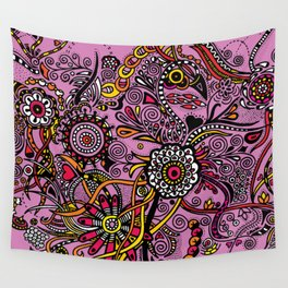 Flores Rosas Wall Tapestry