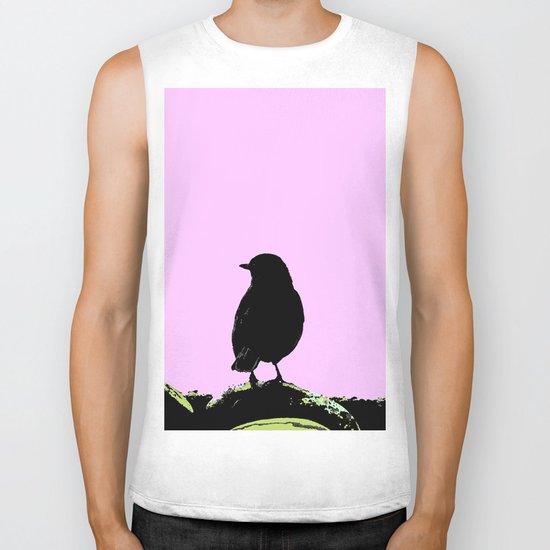Spring mood - singing bird - black bird on a pink background Biker Tank