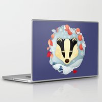 badger Laptop & iPad Skins featuring Snowy Badger by Compassion Collective