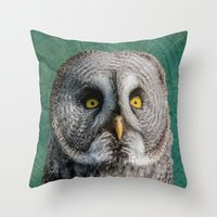 justin timberlake Throw Pillows featuring GREY OWL by Catspaws